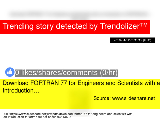 Download FORTRAN 77 for Engineers and Scientists with an
